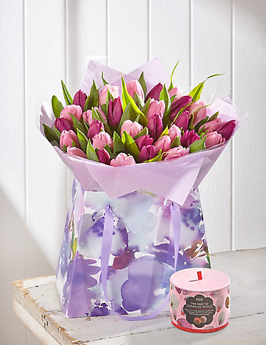Large Tulips Gift Bag with Free Chocolates