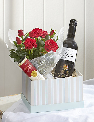 Red Wine & Rose Gift Flowers