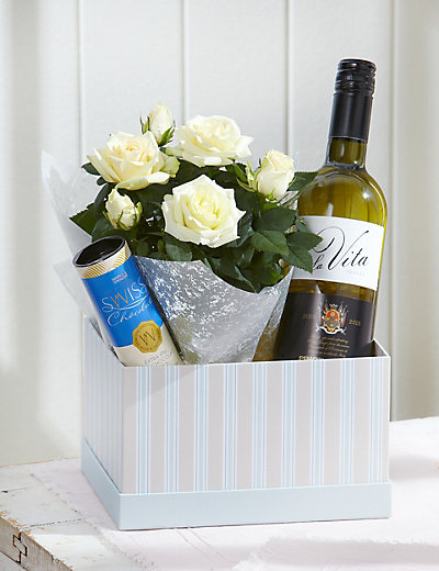 White Wine & Rose Gift Flowers