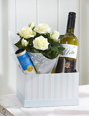 Rose & White Wine Chocolate Hamper