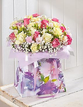 Mother's Day Large Rose & Freesia Gift Bag (Pre Order)
