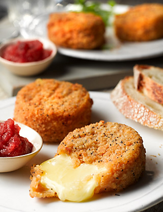 Breaded Camembert with Cranberry & Apple Chutney Food