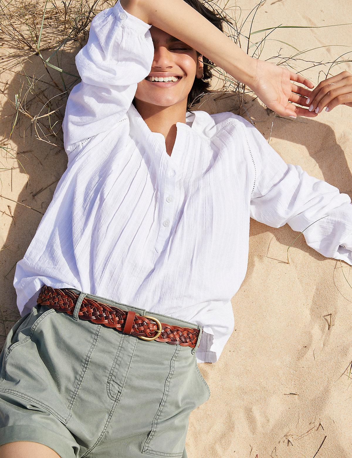 Хлопковые шорты карго с завышенной талией