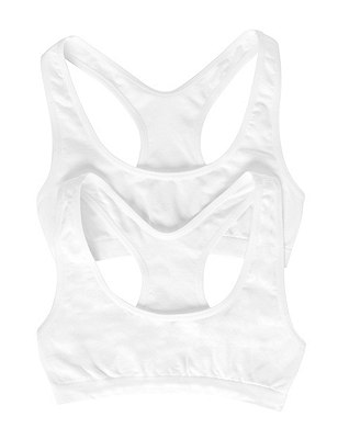 2 Pack Seamfree Crop Tops (6-16 Years), WHITE, catlanding