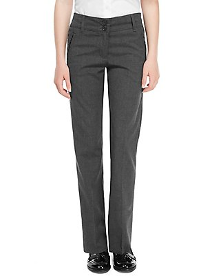 Girls' Slim Leg Crease Resistant Trousers, GREY, catlanding