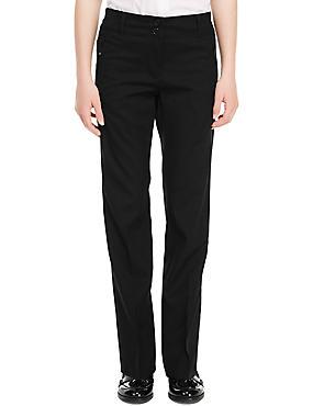 Girls' Crease Resistant Slim Leg Trousers  with Zip Pocket & Triple Action Stormwear™, BLACK, catlanding