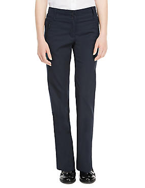 Girls' Crease Resistant Zip Pocket Trousers with Adjustable Waist & Hem & Triple Action Stormwear™, NAVY, catlanding