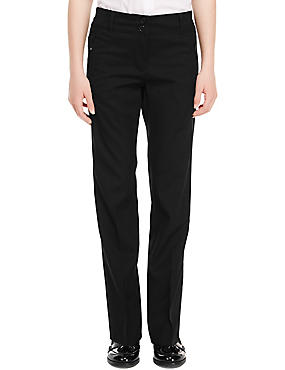 Girls' Crease Resistant Zip Pocket Trousers with Adjustable Waist & Hem & Triple Action Stormwear™, BLACK, catlanding