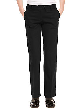 Girls' Pure Cotton Skin Kind™ Regular Leg Trousers with New & Improved Fabric, BLACK, catlanding