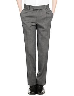 Boys' Wool Blend Pleat Front Supercrease™ Trousers, GREY, catlanding