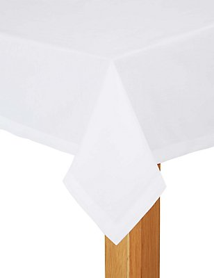 Plain Cotton Tablecloth, WHITE, catlanding