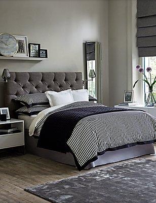 Eva Mono Stripe Bedding Set, BLACK MIX, catlanding