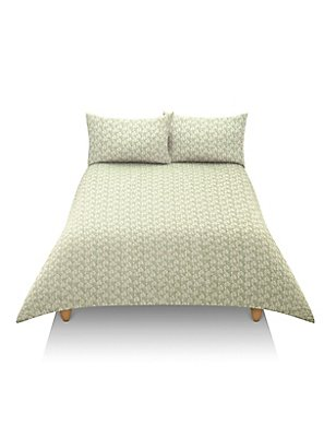 Riley Geometric Print Bedset, GREEN MIX, catlanding