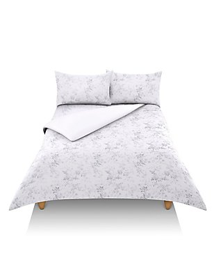Yasmin Floral Print Bedding Set, GREY/WHITE, catlanding