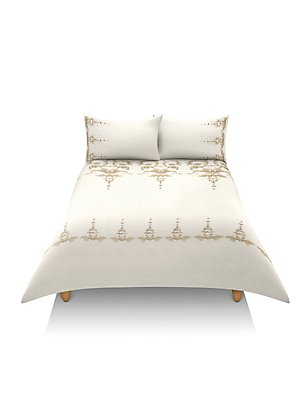 Pure Cotton Decorative Scroll Embroidery Bedding Set, NATURAL MIX, catlanding