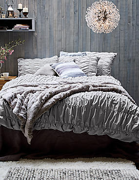 Casual Smocking Bedding Set, GREY, catlanding