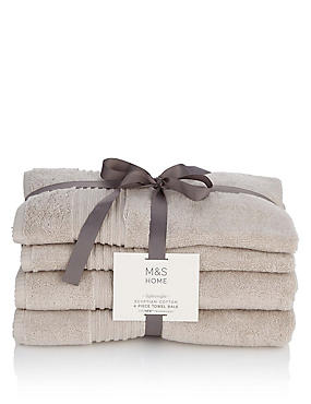 4 Piece Lightweight Egyptian Towel Bale, LINEN, catlanding