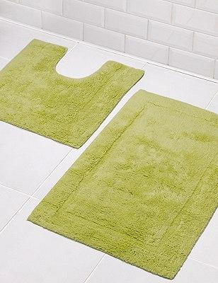 Pure Egyptian Cotton Bath & Pedestal Mats, SOFT GREEN, catlanding
