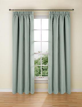 Bantry Weave Pencil Pleat Curtains, DUSTY BLUE, catlanding
