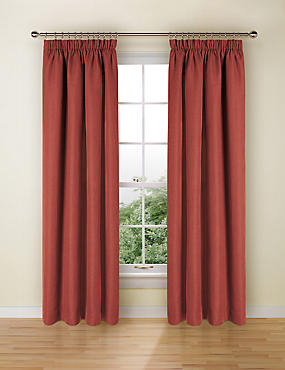 Bantry Weave Pencil Pleat Curtains, TERRACOTTA, catlanding