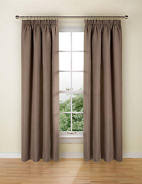 Bantry Weave Pencil Pleat Curtains, MOCHA, catlanding