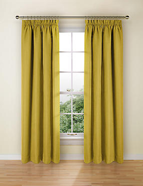 Bantry Weave Pencil Pleat Curtains, OCHRE, catlanding