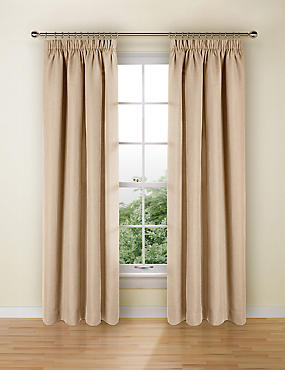 Bantry Weave Pencil Pleat Curtains, NATURAL, catlanding