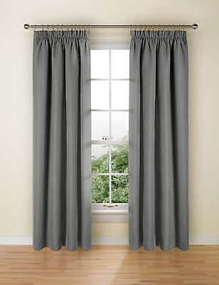 Bantry Weave Pencil Pleat Curtains, CHARCOAL, catlanding
