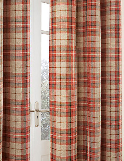 Eyelet Checked Curtains | M&S