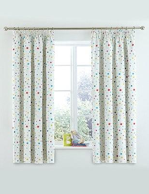 Star Print Pencil Pleat Curtains, MULTI, catlanding