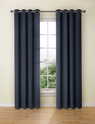 Pure Cotton Curtains, NAVY, catlanding