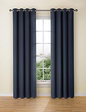 Pure Cotton Curtains, NAVY, catlanding