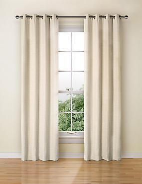 Textured Plain Eyelet Curtain, NATURAL, catlanding