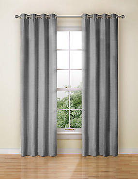 Textured Plain Eyelet Curtain, CHARCOAL, catlanding