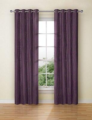 Glamorous Damask Eyelet Curtains, PLUM, catlanding