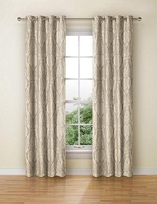Glamorous Damask Eyelet Curtains, TAUPE, catlanding