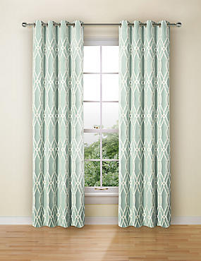 Geometric Jacquard Eyelet Curtains, DUCK EGG, catlanding