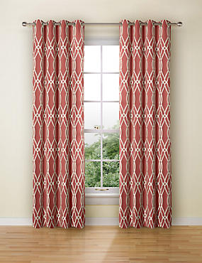 Geometric Jacquard Eyelet Curtains, TERRACOTTA MIX, catlanding