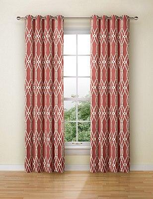 Geometric Jacquard Eyelet Curtains, TERRACOTTA MIX, catlanding