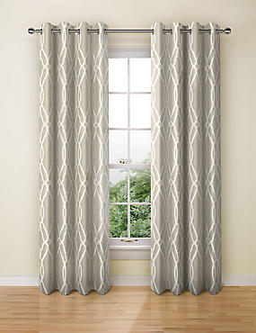 Geometric Jacquard Eyelet Curtains, GREY, catlanding