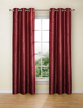 Chenille Eyelet Curtains, CRANBERRY, catlanding