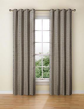 Chenille Dotty Eyelet Curtains, BLACK MIX, catlanding