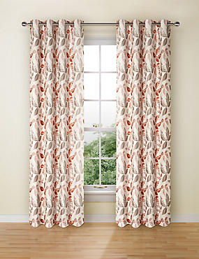 Leaf Jacquard Eyelet Curtain, TERRACOTTA MIX, catlanding