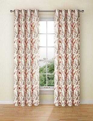 Leaf Jacquard Eyelet Curtain, TERRACOTTA MIX, catlanding