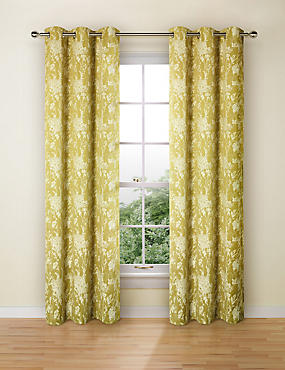 Floral Jacquard Curtains, OCHRE, catlanding