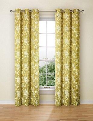 Floral Jacquard Eyelet Curtains, OCHRE, catlanding