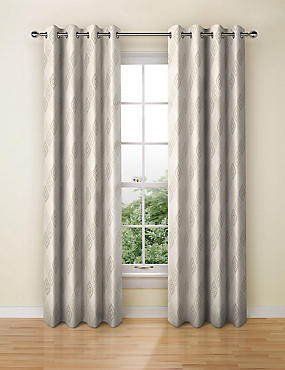 Diamond Jacquard Eyelet Curtains, NATURAL MIX, catlanding