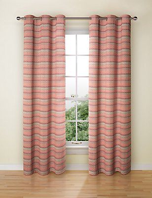 Geo Chenille Curtain, RED MIX, catlanding