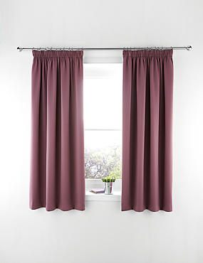 Blackout Pencil Pleat Curtains, PURPLE, catlanding