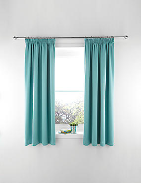 Blackout Pencil Pleat Curtains, BLUE, catlanding